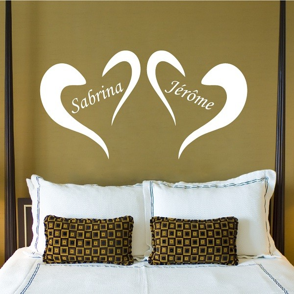 stickers muraux sticker mural ambiance sticker mural coeurs pr noms personnalis s. Black Bedroom Furniture Sets. Home Design Ideas